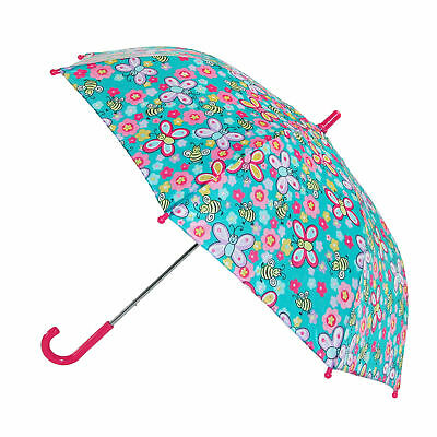 New CTM Girls' Butterfly and Bee Print Hook Handle Umbrella