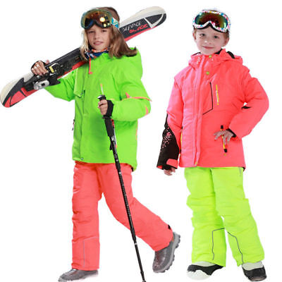 Boys Waterproof Outdoor Ski Snowboard Jacket Sets Warm Cotton Padded Coat+Pants