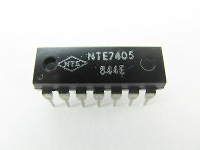 NTE7405 - Hex Inverter with Open Collector Outputs - 14-Pin DIP TTL IC, NOS