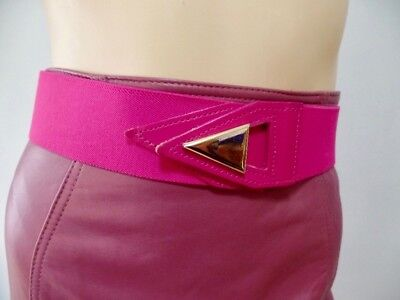 Vintage 80s Retro Geometric Hot Pink Cloth Leather Gold Stretch Belt 34 to 43