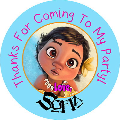 Baby Moana Birthday Personalized Thanks For Coming To My Party Stickers Favors