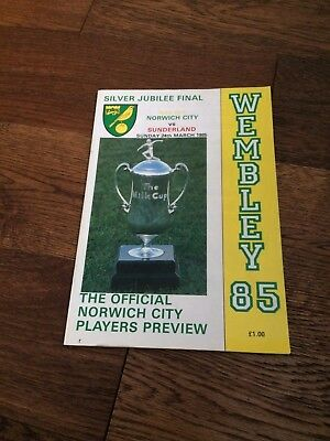 Sunderland V Norwich- Milk Cup Final 1985- Players Preview- Many Autographs