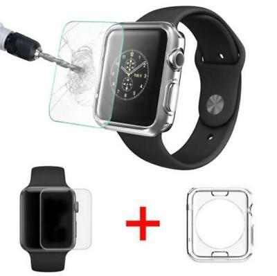 New Apple Watch Full Protect Tempered Glass+ Case Cover For Clear Soft 38/42mm