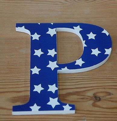 Wooden Sign Letter 'P' with Blue and White Star Pattern (D1A2)