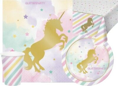 Unicorn Party Sparkle Girls Complete kits 8 16 24 Guests Plates Napkin Tableware
