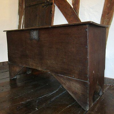 Six Plank Boarded Chest, English. Oak. C16th