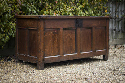 A Large 17th Century Oak Center Chest. English c.1650.