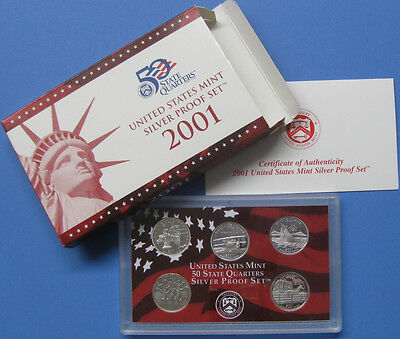 2001 Silver State Quarter 5pc set with Government Packaging & COA