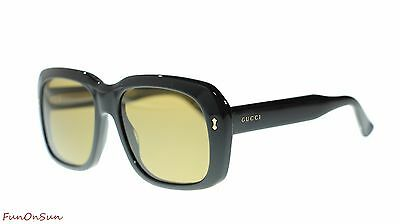 37a88efedca0a Gucci Women Oval Sunglasses GG0049S 001 Black Brown Lens 57mm Authentic
