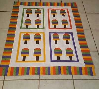 Handmade Bright  Popsicle quilt top ( small lap size ) (unfinished)