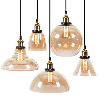 Pendant Lighting Amber Glass Shade Industrial Ceiling Light Lamp Home Free Bulb