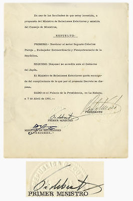 Fidel Castro Document Signed as Prime Minister, 1961