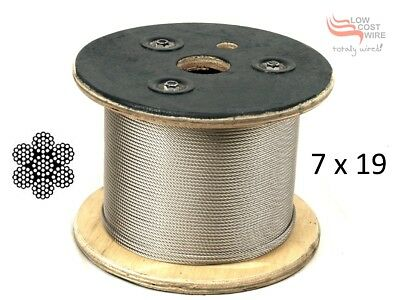 316 Marine Stainless Steel Wire Rope Cable Decking Balustrade Rigging 7x19 4mm
