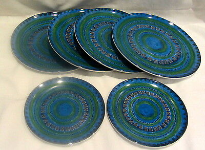 Vintage Dinner & lunch PLATES Texas Ware Melmac Melamine Blue Green