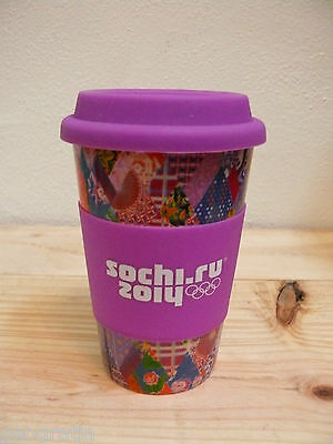 Sochi Russia 2014 Official Purple Cup Travel Mug Tumbler With Silicone Lid