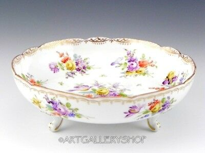Antique Dresden Franziska Hirsch NUT CANDY DISH BOWL FOOTED FLOWERS BOUQUET GOLD