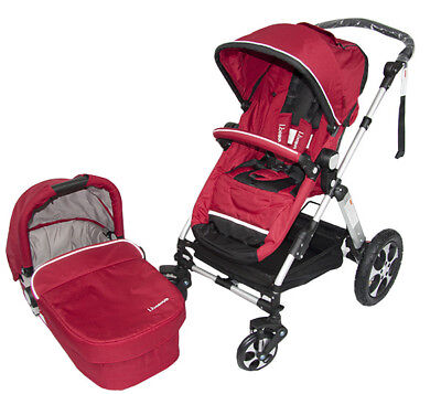 New Aluminium 2 in 1 Baby Pram Stroller with Seat and Bassinet 4 Wheel   - Red