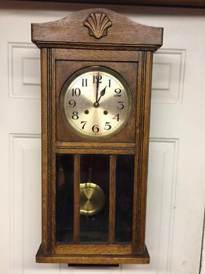 Great Oak Wall Clock Time & Strike French Works Running Strong W/key & Pendulum