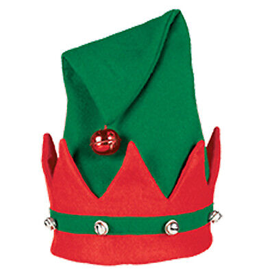 New Adults Large Christmas ELF HAT With Jingle Bells RED GREEN Xmas FANCY DRESS