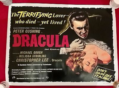 Dracula -  Hammer - Uk  Quad  Repro  Poster.30 X 40  Inches .rolled