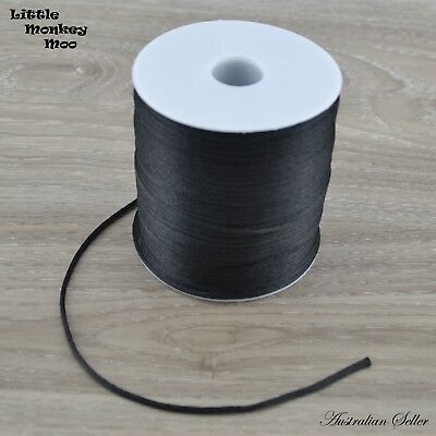 Black Satin Nylon Cord 2mm Teething DIY Necklace Beads Jewellery 1 to 20 Meters