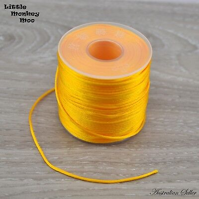Gold Nylon Cord 2mm Teething DIY Necklace Beads Jewellery 1 to 20 Meters