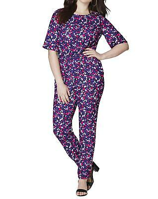 Womens Short Sleeve Jumpsuit in Multi-Coloured Print