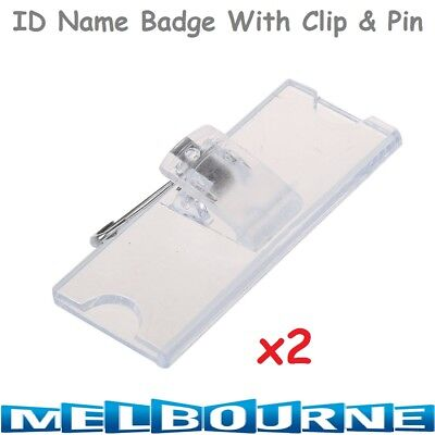 2x Name Tag ID Clear Card Holder Clip Safety Pin Reception Conference Staff Clea