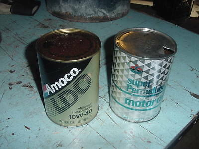 VINTAGE AMOCO 1 QUART CARDBOARD CAN 70s 80s EMPTY MOTOR OIL CANS LOT OF 2