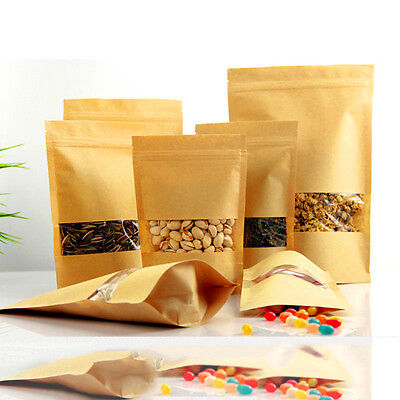100 Pcs Kraft Paper Stand Up Bags Seal Packaging Window Sealable Home Food Pouch
