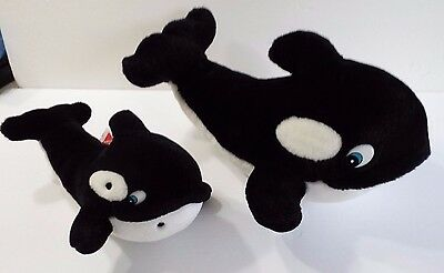 Set of 2 Whale Orca Plush Stuffed Animal Free Willy Creations by Dakin