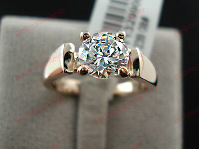 18K Rose gold 1.5 ct Round cut Diamond Classic 4 Prong Solitaire Ring FREE PP