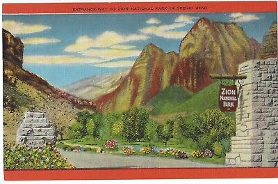 Entrance to Zion National Park, Scenic Utah, Unused Vintage Linen Postcard