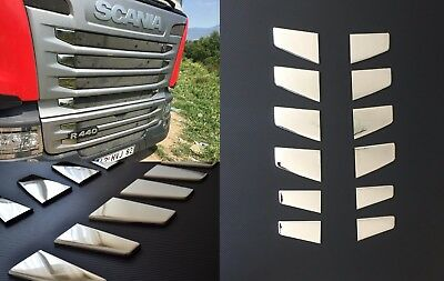 12 pcs Front Grill Dash Corners Mirror Polished Stainless Steel SCANIA R series