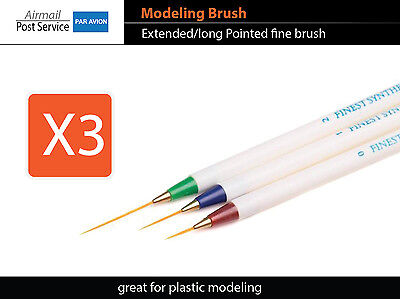 X3 LONG Brush Modeling Pointed Craft Tool Plastic Paint fine fit tamiya vallejo