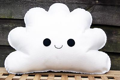 Happy White Cloud Shaped Cushion Plush Pillow Kids Bedroom Decor Baby Nursery
