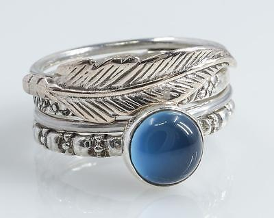 Chalcedony & Feather 925 Sterling Silver STACKING RING SET Stackable Rings US 8