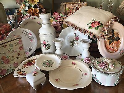 Bulk Lot Of Vintage Rose Themed Items Pin Dishes Ceramic Perfume Bottles