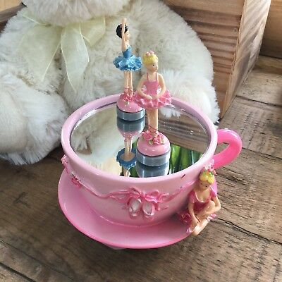 Gisela Graham Pink Ballerina Tea Cup Music Box Magnetic Dancing Ballet Gift
