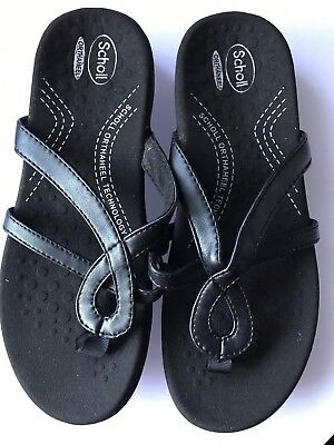 NEW Women Lady Scholl Orthaheel Atlanta Black Thong Sandals Shoes