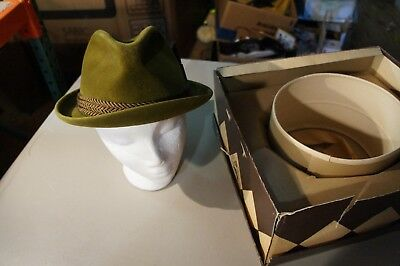 Nice Vintage Stevens Hat Co Nice Shape With Box Forest Green Velour