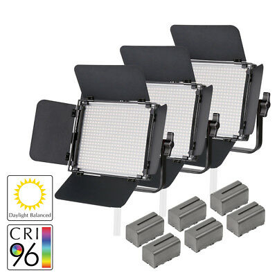 LECO 500S II Daylight Balanced LED Video Light Three-Head Kit with Batteries