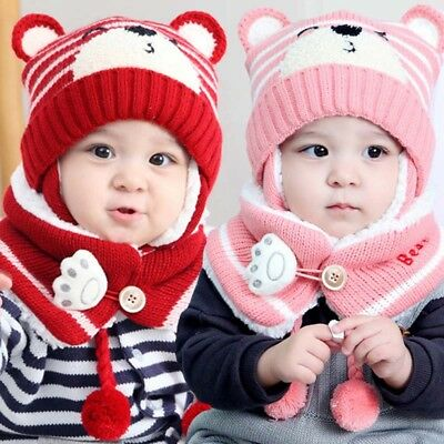 Cute Baby Toddler Winter Beanie Warm Hat Scarf Earflap Knitted Cap Kids