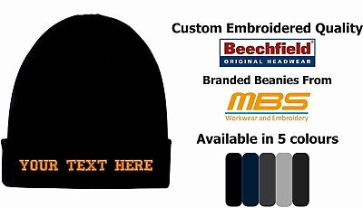 Text Embroidered Custom Personalised Beanie Hat Uniform Workwear Embroidery