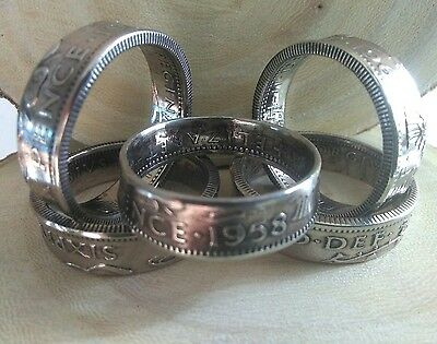 six pence coin ring toe or pinkie rings size H to L Dates From 1953 to  1967