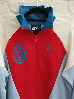 Retro 90's NIKE Red, White & Blue Padded Vintage High Collar Track Jacket * XL