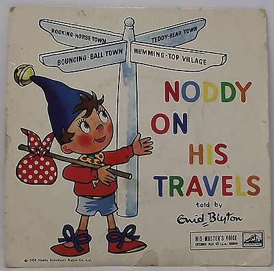"""NODDY ON HIS TRAVELS told by ENID BLYTON : Vinyl Record EP 7"""" 45rpm"""