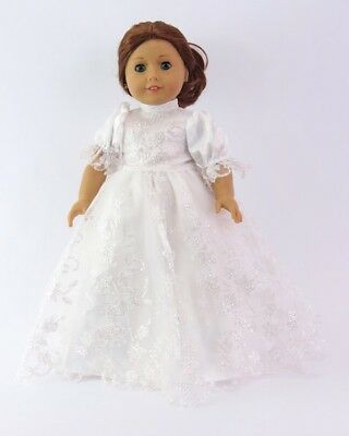 """Doll Clothes 18"""" Dress White Glitter Made To Fit American Girl Dolls"""