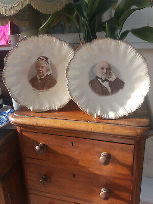 A pair of Prattware wall plates of Mr & Mrs E.W. Gladstone c 1880