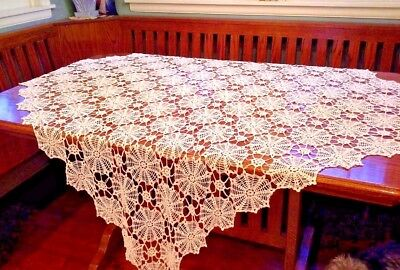 "Beautiful Square Cream CROCHETED LACEY TABLECLOTH, 56"" X 56"""